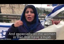 Iranian journalist protests in Jerusalem against the Iranian regime and asks Netanyahu for help